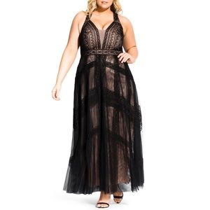 City Chic Black Maxi Divine Lace Gown NWT